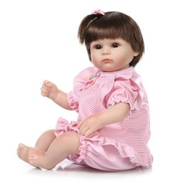 Wholesale Cheap Doll Hair - Cute Baby Girl Dolls Real Like Silicone Reborn Baby Doll Soft Brown Hair Cheap Realistic Reborn Baby Dolls For Sale Child Gifts