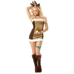 Wholesale santa sexy outfits - 2017 Hot Summer Women Fashion Adult Women Sexy lingerie Santa Baby Little Helper Christmas Holiday Halloween Outfit cosplay Dress