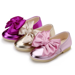 Wholesale girl party dance shoes - Newest Girls PU Shoes Children Bowknot Princess Shoes Kids Dance Shoes 3 Colors 5 p l