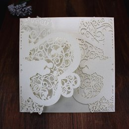 Wholesale Groom Bride Wedding Invitation Card - Free Shipping Romantic Laser Cut Bride and Groom Wedding Invitation Card Souvenirs Wedding Favor Decorations valentine's greeting card