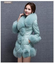 Wholesale Leather Pu Vest - DHL Free Shipping Winter Women Plus Size PU Leather Coat Fashion Long Down Jackets Wholesale Faux Fox Fur Vest Ladies Outwear For Women