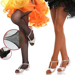 Canada Professional Girls Adults Hard Stretch Fishnet Latin Dance Tights Seamless Dark Tan Black Latin Pantyhose Foot Pad For Women Offre