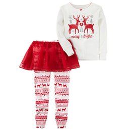 Gonne lunghe di mutande online-Ins Christmas Girls set di abbigliamento Renna T Manica lunga + Gonna in tulle Pant 2 pezzi / set 2017 Autunno Nuovo arrivo