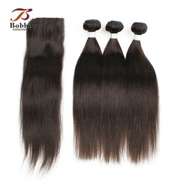 Wholesale Virgin Remy Brazilian Hair Weave - 3 Bundles with Lace Closure Darkest Brown Brazilian Silky Straight Virgin Hair Weaves Color 2 Remy Human Hair Free Middle Three Part Closure