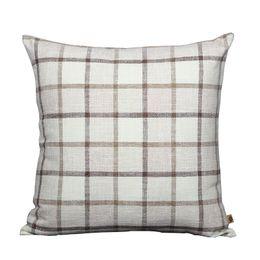 Wholesale Natural Sofas - High Quality Classic Grid Cushion Cover Sofa Seat Chair Lumbar Pillow Modern Simple Natural Cotton Linen Cloth Back Cushion Case