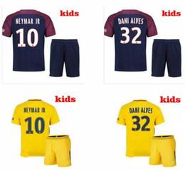 Wholesale Flash Football - NEW 2018 Neymar jr soccer jersey paris kids home away thai jersey Di Maria Matuidi Silva Ben Arfa Cavani Draxler Dani Alves Football Kits