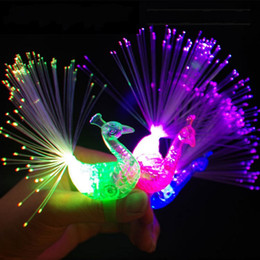 Wholesale Magic Finger Lights - Peacock Finger Lamp Funny Led Optical Fiber Light Magic Discolored Plastic Lights Toy For Children New Arrival 0 41qq B