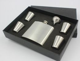 Wholesale 6oz Flask Funnel - sliver 6oz hip flask gift set with 4 cups and one funnel in black gift box
