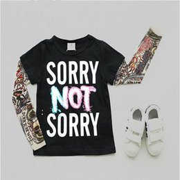 Wholesale Baby Girl Tattoos - Children Tattoo Print T Shirts Mesh Sleeve Baby Boys Girls Cotton Tops Kids Tees 2016 Autumn New Arrival
