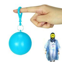 Wholesale Travel Emergency Poncho - Outdoor portable raincoats ball disposable raincoats camping fishing travel emergency poncho key chain rain wear balls for sale