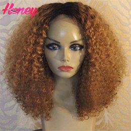 Wholesale Kinky Big Hair Wig - short ombre human hair wig brazilian lace wigs virgin human hair ombre kinky curly full lace wig for black women