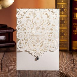 Wholesale Champagne Party Invitations - New Personalized Printable Wedding Invitation Cards White Gold Laser Cut Flora Hollow with Rhinestone Chinese Wedding Favors