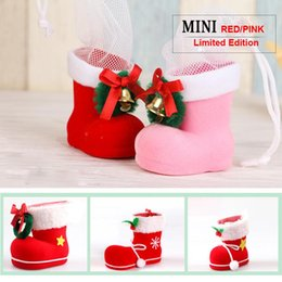 Wholesale Pen S Boxes - New Christmas Decorations Candy Boots Children Gift Christmas Tree Creative Bags Candy Box Pen Container Flocking Upper