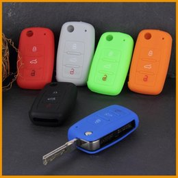 Wholesale Silicone Key Cover For Vw - 7 Color Silicone Car Auto Remote Key Cover Case For Volkswagen VW Series Drop Shipping Wholesale