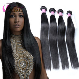 Wholesale Virgin Straight Hair - XBL Silky Straight Hair 3 4PCS Virgin Human Hair Extensions Cheaper Silky Straight Human Hair Bundles