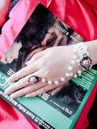 Wholesale Pink Green Flower Ring - Mixed Black White Lace Chain Bracelet With Green Pink Rose Flower Charm Bracelet With Trendy Rhinestone Pearl Charm Finger Ring