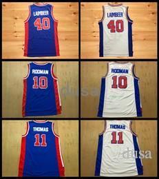 Wholesale Bills Throwback Jersey - Throwback Basketball Jerseys 10 Dennis Rodman The Worm 11 Isiah Thomas Zeke 40 Bill Laimbeer His Heinous Retro Blue Basketball Shirts