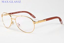 Wholesale Wooden Frame Box - high quality fashion brands luxury sun glasses for sport vintage transparent clear lens oversized full frame wood glasses with box
