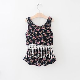 Wholesale Kids Lace Tank Tops - 2016 Baby girl kids Summer clothes 2piece set outfits rose floral tassels lace tank tops vest shirt + shorts pants Clothes Clothing