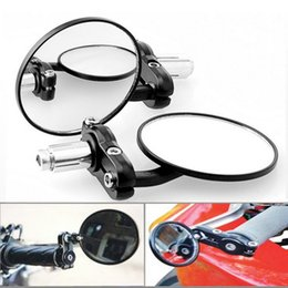 "Wholesale mirrors for motorbikes - 1 Pair Motorcycle Round 7 8"" Handle Bar End Foldable motorbike Rear View Side Mirrors For Suzuki for Kawasaki for Honda"