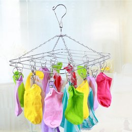 Wholesale Stainless Steel Sock Clips - Stainless Steel Hangers Anti Wear No Rust Square Clotheshorse For Underwear Socks Clothes Rack Top Quality 6 9fw B R