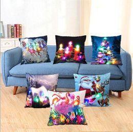 Wholesale Case Car Design - Led Light Christmas Cushion Cover Luminous Pillow Cases Sofa Car Pillowcase Decor Cushion Santa Claus Reindeer Snowman 7 Designs YW90-2
