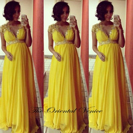 Wholesale Orange Maxi Dresses - Abendkleider 2017 Yellow Chiffon Maternity Evening Dress Plus Size Pregnant Women Maxi Evening Gowns Crystal Beaded Long Empire Party Dress