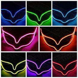 Wholesale Halloween Mask Luminous - Luminous LED Mask Party Decor Fox Mask Glowing Festival LED Glowing Party DJ dance Halloween Party Mask CCA7420 100pcs