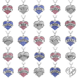 Wholesale Blue Heart Diamond Pendant - Heart Diamond necklace family letters mother daughter nana Necklaces pink white blue crystal pendants for women kid fashion jewelry