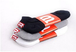 Wholesale Thick Ankle Socks - Wholesale-37-43 1lot=10pairs given original FK Thick Thin GS Wilson SHORT ankle socks sox signature white black grey RED M men cousins bro