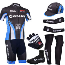 Wholesale Half Gloves Giant - Pro team giant cycling jersey gel pad bike shorts ser with cycling warmers and half finger bike gloves