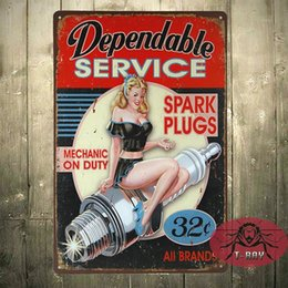 "Wholesale Gas Spark - ""Dependable Service"" Spark Plugs, Tin Metal Sign, Gas Oil, Man Cave H-03 160909#"