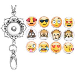 Wholesale Metal Necklace Chain Lanyard - Trends 12Pcs Emoji Fashion Button Snap Office Lanyard ID Badges Holder Necklace Keychain Jewelry Metal Accessories N181S