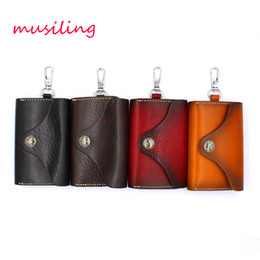 Wholesale Red Charm Packs - Leather Wallet Bag Card Pack Key Chain Material Antique Copper Alloy Personalized Design Fashion European Charms Jewelry
