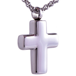Wholesale Stainless Steel Necklace High Polished - Classical high polishing 316L stainless steel silver small cross urn pendant ash necklace keepsake jewelry openable put in Perfume or Note