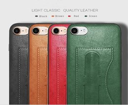 Wholesale Plastic Card Holder Stands - For iphone 6S 8 Plus S8 Real Genuine Leather Wallet Credit Card Holder Stand Case Cover For iphone Samsung