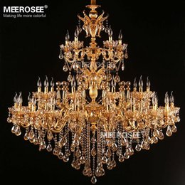 Wholesale Royal Irons - Large Royal Golden Crystal Chandelier Lighting Fixture Lustres Cristal Suspension Project Lighting Hotel Resteruant Villa Luminaire Lamps