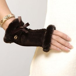 Wholesale Ladies Brown Leather Gloves - 2016 Fashion Winter Gloves Wrist Fingerless Mittens For Women Adult Solid Lady Leather Glove Pig Suede Brown Color Sale L128nq