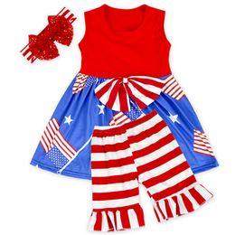 Wholesale Tutu Dresses Usa - Kids dress Ruffles Pants Set Girl USA Flag style Sleeveless Outfit Spring Summer cloth Sfor 1-5T