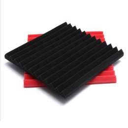 Wholesale Wholesale Soundproof Foam - 30x30x3cm - Red Black Soundproof Acoustic Foam Sound Absorption Studio Sponge Foam
