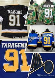 Jersey negro de la práctica del hockey online-2016 barato St. Louis Blues # 91 Vladimir Tarasenko negro, azul Camo Veterans Day Practice cosido Jerseys