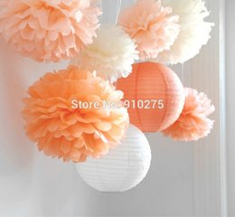 Wholesale Peach Paper - 8pcs Mixed Peach Orange Ivory Tissue Paper Pom Poms Paper Lantern Wedding Birthday Party Baby Girl Nusery Room Decoration Bouquet Flowers