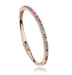 Wholesale Thin Alloy Bangles - Full diamond bracelet Gold Silver Plated Rhinestone Bracelet Fashion jewelry Bracelet diamond alloy Bracelet Thin Bangle