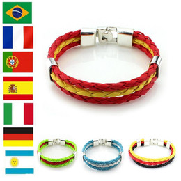 Wholesale Braided Stainless - Hot Charm Bracelets Jewelry National Flags Bracelets Olympic Games World Cup Fans Braided Rope Charms Bracelets Unisex Pu Leather Bracelet