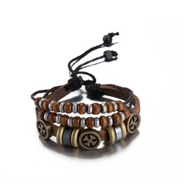 Wholesale Cheap Vintage Bracelets - 2016 Hot Cross Leather Bracelet with Wood Bead Charm Vintage Style Pretty Christmas Gift High Quality Cheap Wholesale H023