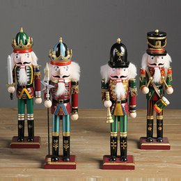 Wholesale Christmas Nutcracker Ornaments - 4pcs lot Nutcracker Puppet Soldiers Wooden Home Decorations for Christmas Creative Ornaments and Feative and Parrty Christmas gift 30cm