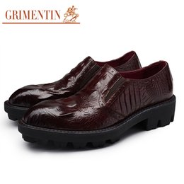 Wholesale Thick Soled Wedding Shoes - GRIMENTIN brand crocodile style mens heighten shoes genuine leather thick sole antislip Italian men dress shoes for wedding size:38-44 2-O42