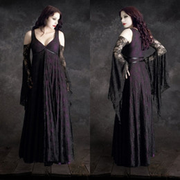 Wholesale sexy plus size halloween costumes - Custom Made Cosplay Halloween Costumes For Women Sexy Sleeveless Prom Gowns Lace Vampires Dress Floor Length Disfraces Christmas adult