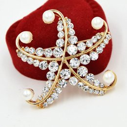 Wholesale Crystal Starfish Brooch Pin - Lovely Alloy Starfish Brooch Stunning Clear Crystals And Faux Pearl Women Gift Broaches Pins Wedding Bridal Bouquet Jewelry Pins