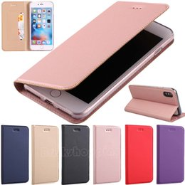Wholesale Iphone Slimmest Flip Case - Ultra Slim Magnetic Leather Stand Wallet Flip Case Cover Protective Shell for iPhone X iPhone 8 iPhone 8 Plus iPhone 7 iPhone 6 iPhone SE